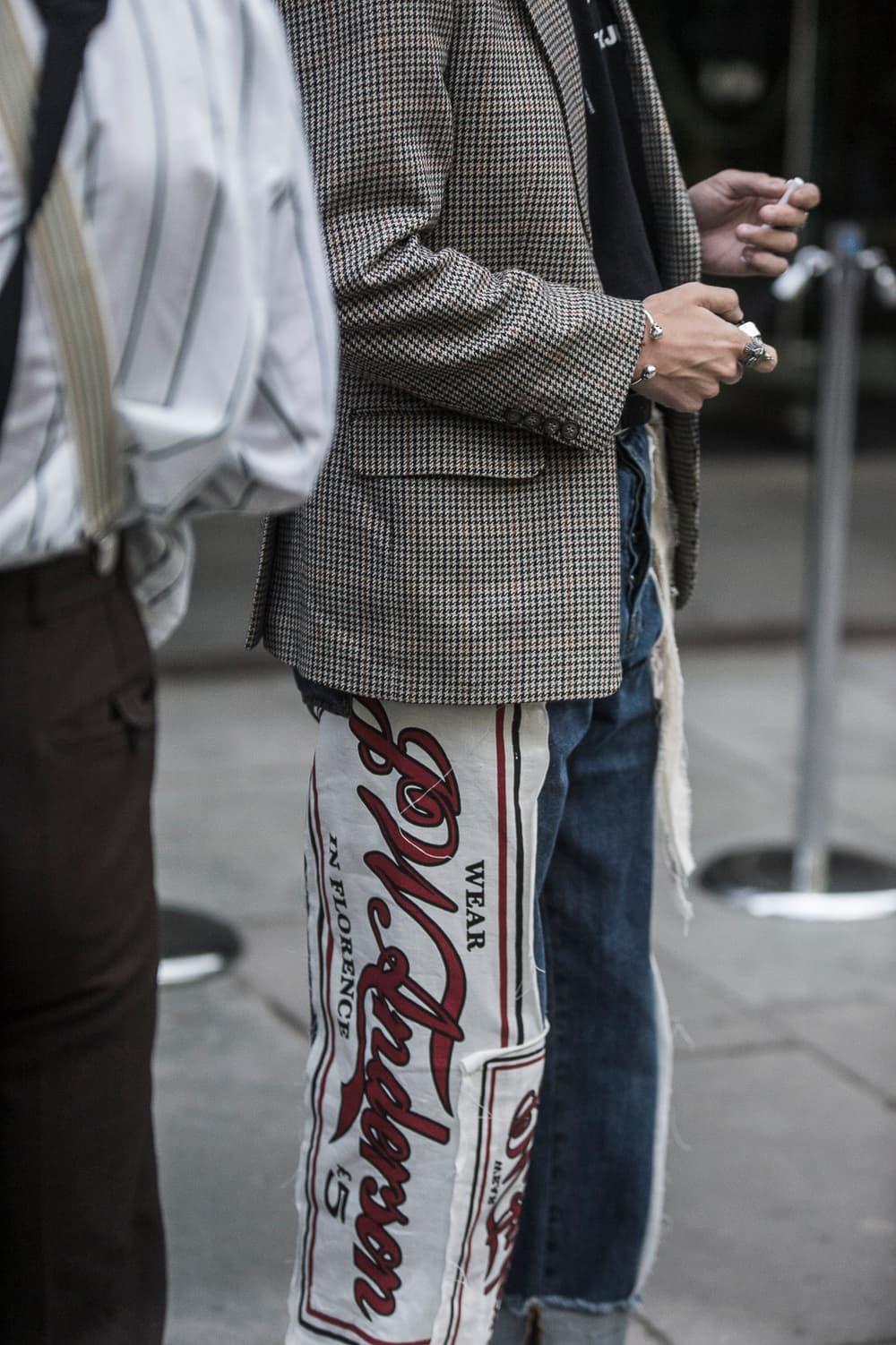 London Fashion Week Men's Spring/Summer 2019 SS19 Street Style Snaps Balenciaga Burberry Liam Hodges A-COLD-WALL* J.W. Anderson Raf SImons Dior Homme B22 Triple S Nike Air Monarch