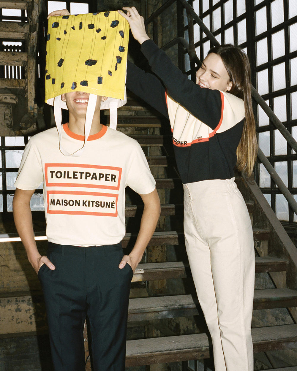 Maison Kitsune Toiletpaper magazine Collaboration june 2018 artwork Pierpaolo Ferrari Maurizio Cattelan new york launch drop debut collection unisex