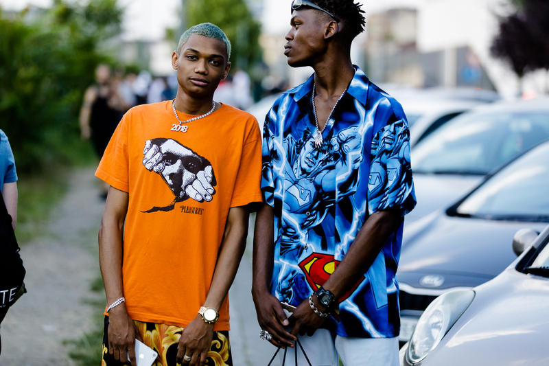 milan fashion week street style spring summer 2019 orange pleasures tee shirt supreme nike shorts pattern superman silk short sleeve shirt red black blue logo