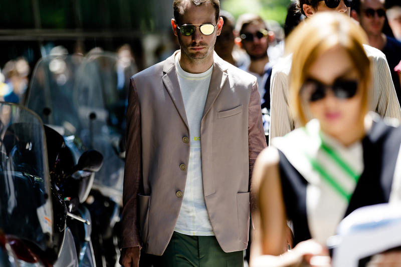 milan fashion week street style spring summer 2019 beige khaki suit eckhaus latta yellow white tee shirt gold sunglasses tailoring blazer
