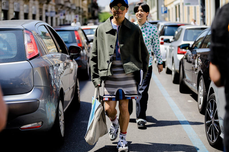 milan fashion week street style spring summer 2019 blue grey white stripes