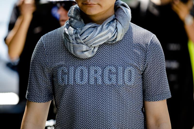 milan fashion week street style spring summer 2019 giorgio armani tee shirt jacquard 3d pring scarf
