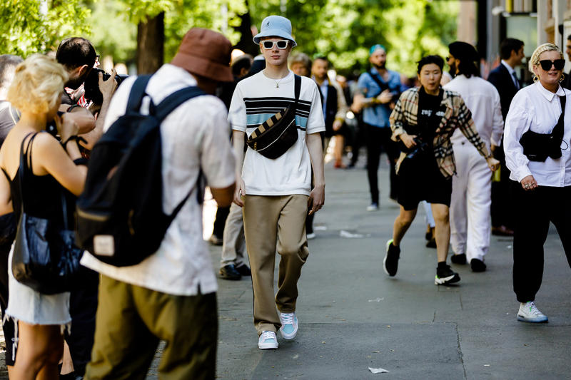 milan fashion week street style spring summer 2019 kangol bucket hat shoulder waist fanny pack bag converse golf le fleur one star sneaker sweatpants beige track nike m2k tekno burberry shirt sneaker shoe black white yellow