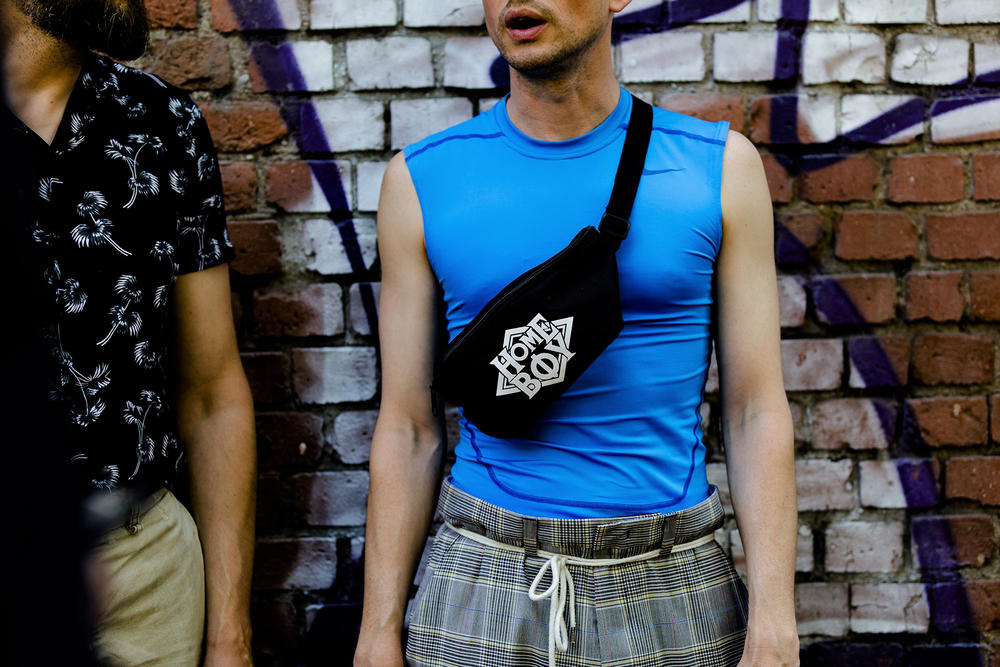 milan fashion week street style spring summer 2019 home boy black shoulder waist bag fanny pack blue slim shirt shoelace belt glen check plaid pants