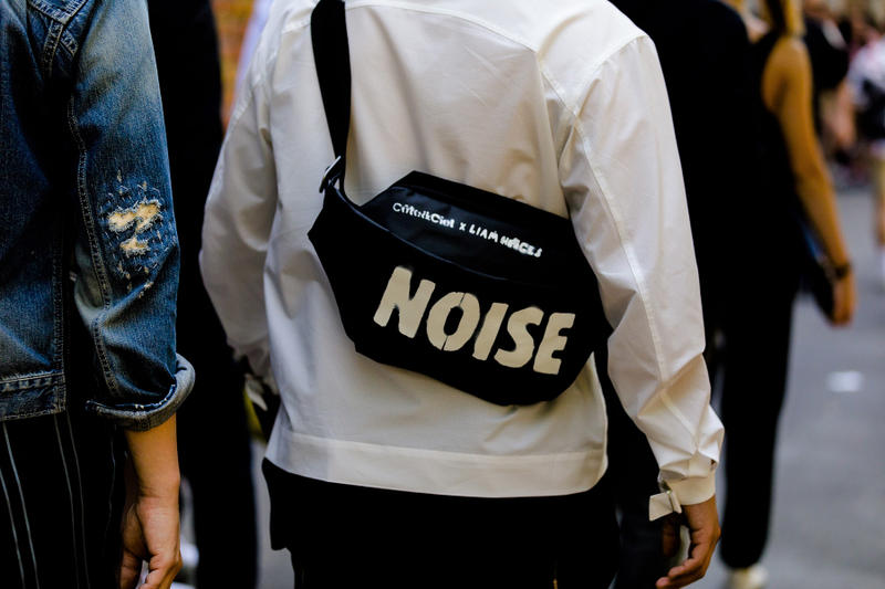 milan fashion week street style spring summer 2019 liam hodges noise waist bag fanny pack black shoulder