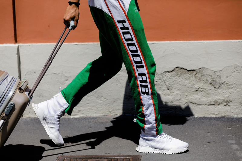 milan fashion week street style spring summer 2019 hoodlab sweatpants adidas sneaker boot