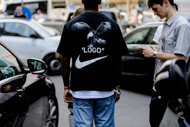 milan fashion week street style spring summer 2019 off white logo nike football soccer collaboration black bird tee shirt