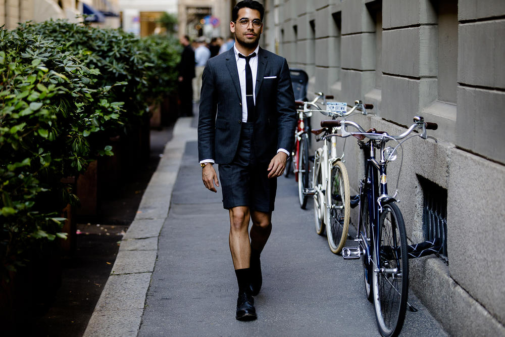 milan fashion week street style spring summer 2019 thom browne summer suit black grey tie bar white shirt pocket square derbies black socks