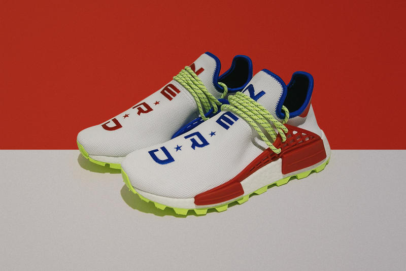 nerd Creme adidas Originals PW Hu NMD Homecoming pharrell collab new release date where to buy norfolk virginia red white blue green