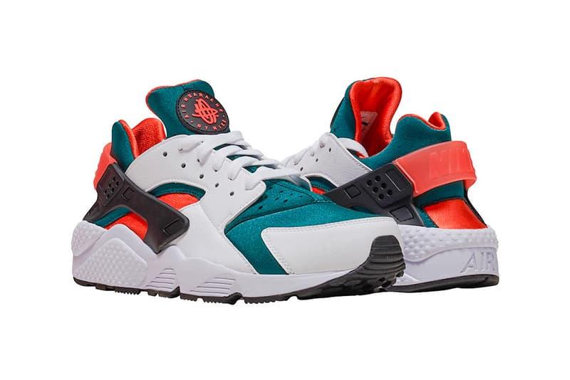 "Nike Air Huarache ""Miami Hurricanes"" Release date available now sneaker rainforest green wild mango orange"