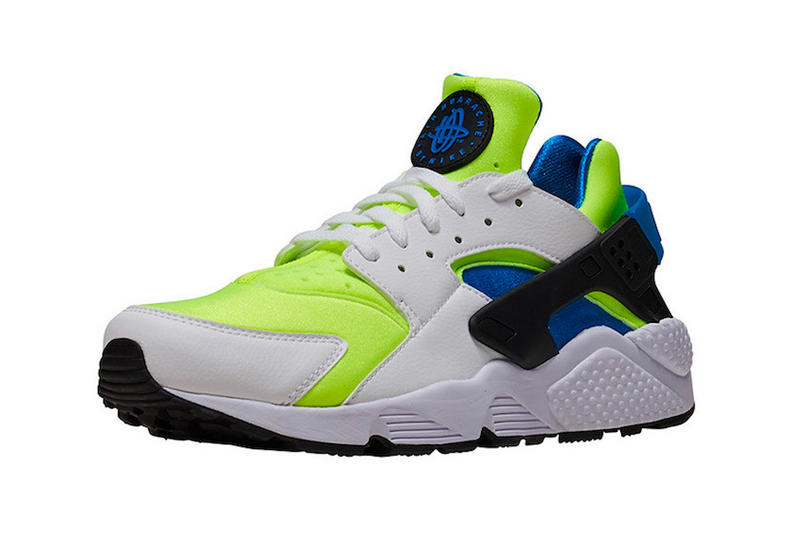 "Nike Air Huarache ""Scream Green"" Release info Volt Photo Blue OG colorway sneaker footwear purchase price"