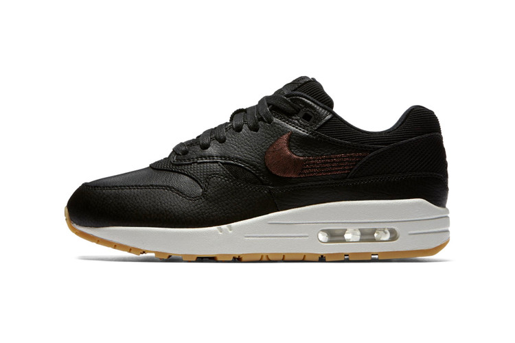 90634a395a9e1a Nike Air Max 1 Gets Fancy in Black Leather and Bronze Embroidery