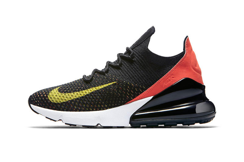 check out 0bffe db7d2 Nike Air Max 270 Flyknit Multicolor Release Red Black Yellow