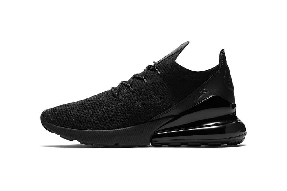 Nike Air Max 270 Flyknit Triple Black june july 2018 release date info drop sneakers shoes footwear