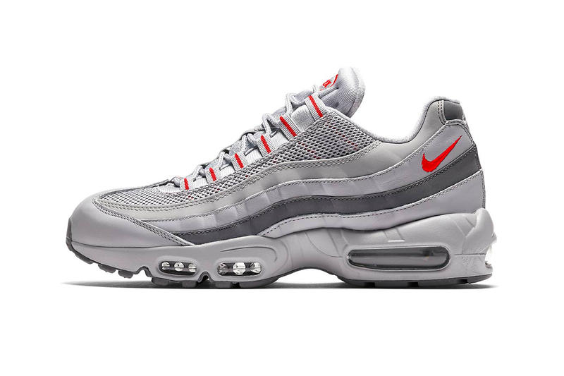 check out 60921 c0584 Nike Air Max 95 grey red gradient Silver Bullet silver red colorway retro  sneaker footwear
