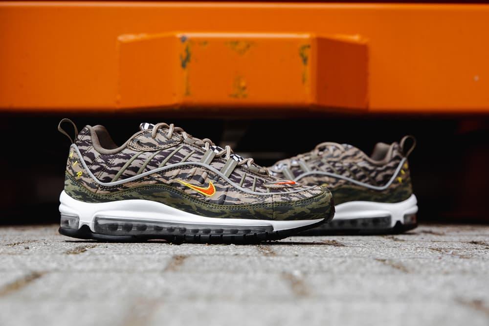 Nike Air Max 98 tiger camo closer look nike sportswear 2018 footwear may 31 2018 release date info drop shoes footwear
