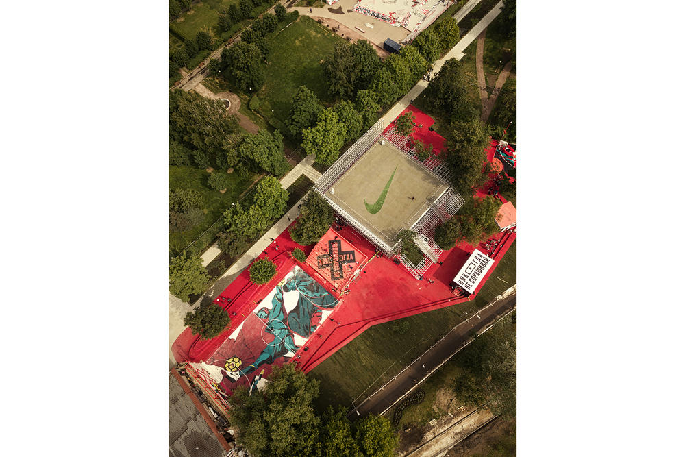 Nike Moscow Sports Facility Nike BOX Msk KOSMOS Architects Gorky Park soccer basketball running yoga