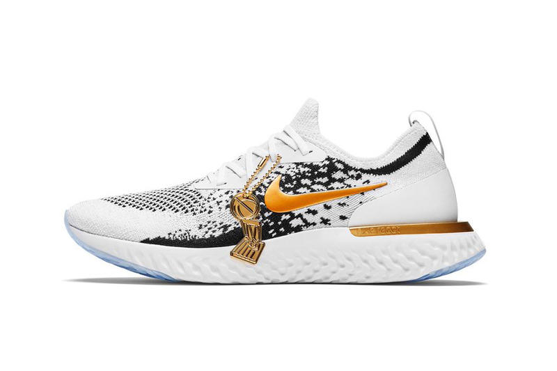 Nike Epic React Flyknit Golden State Warriors PE 2018 NBA Championship Art of a Champion Pack sneakers