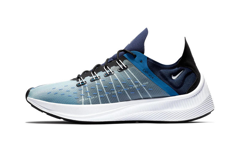 Nike EXP-X14 grey blue first look sneakers footwear running react technology
