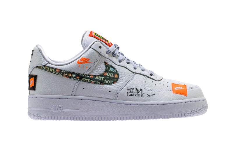 b0324858fdf1 sneakerbardetroit. Nike Air Force 1 Low  07 Premium Just Do It pack white  leather footwear sneakers