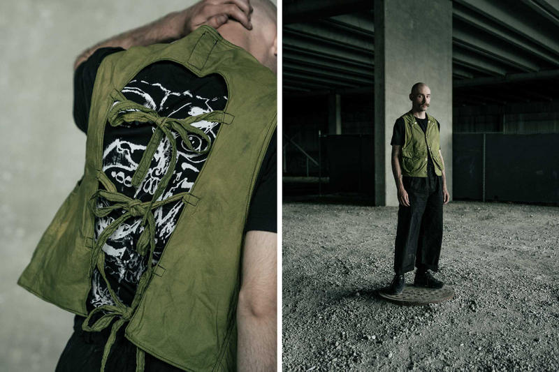 Notre x Gutter Collaboration Lookbook Black Green Colorways T-Shirts Trousers Jackets
