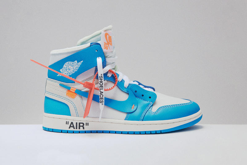 96db85f1903f6a Off White Air Jordan 1 UNC June 19 2018 Release date info drop powder blue  sneakers. Nike