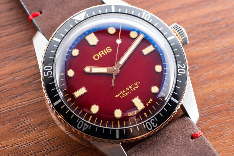 Oris RedBar Special Edition Divers Sixty-Five watch accessories members only exclusive limited 100 pieces bronze bezel red dial brown leather strap