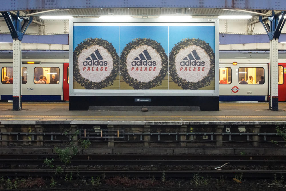 palace adidas collaboration teaser images advertisements poster wimbledon station london imagery spring summer 2018