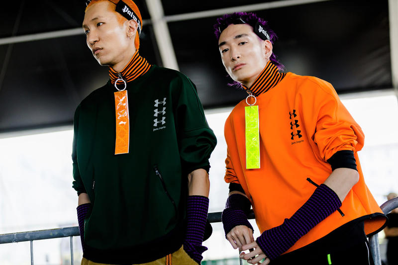 palm angels spring summer 2019 milan fashion week orange black under armour pullover shirt yellow tag turtleneck arm warmers tanning bed glasses goggles