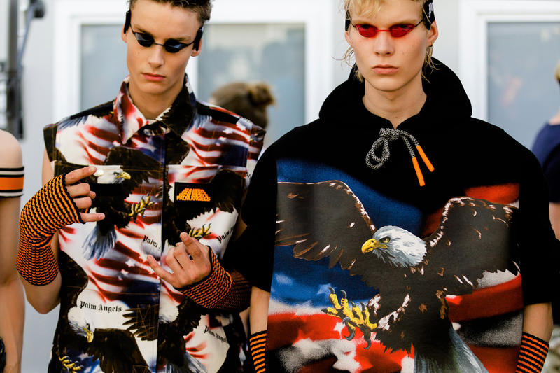 palm angels spring summer 2019 milan fashion week american flag print eagles tanning bed glasses goggles black hoodie arm warmers sleeveless shirt
