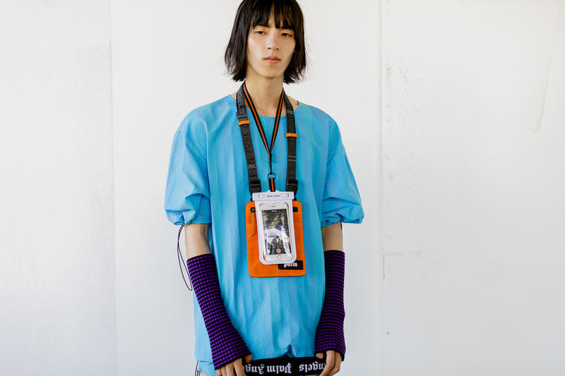 palm angels spring summer 2019 milan fashion week blue shirt armwarmers knit iphone lanyard necklace shoulder bag orange