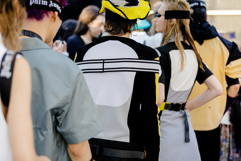 palm angels spring summer 2019 milan fashion week woven knit hat yellow white grey black shirt long sleeve strap belt tanning bed sunglasses goggles