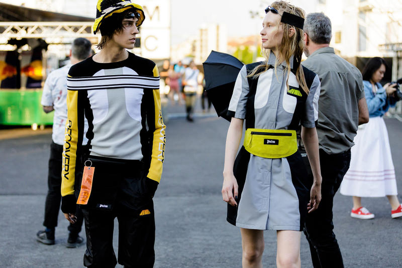 palm angels spring summer 2019 milan fashion week striped orange turtle neck black tanning bed sunglasses goggles woven hat knit strap grey white black yellow long sleeve shirt waist fanny bag pack dress recovery tag pants