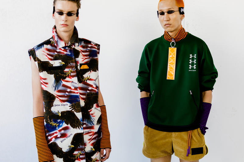 palm angels spring summer 2019 milan fashion week american flag eagle armwarmers yellow green pullover logo corduroy shorts tanning bed glasses