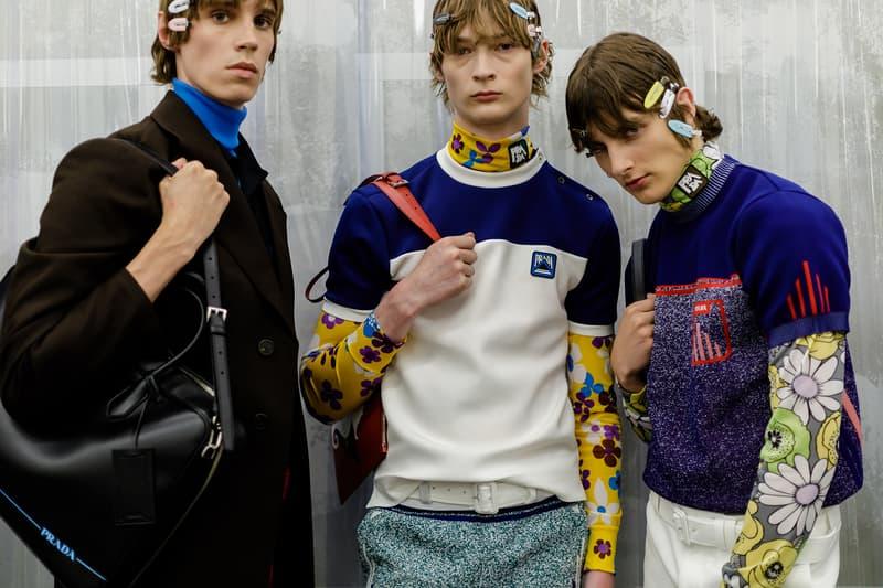 Prada Spring/Summer 2019 Backstage Milan Fashion Week Miuccia Prada Cloudbust Sneakers Shorts Denim