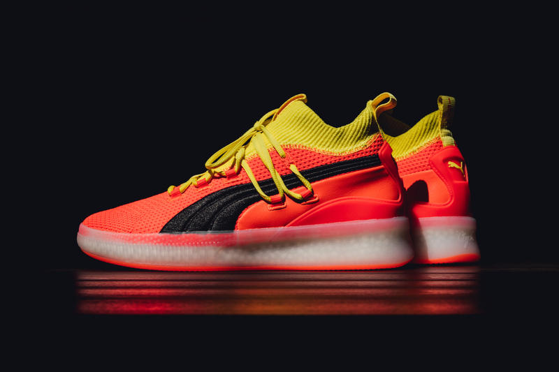 fb01dc2f0e3d A re-interpretation of its first basketball shoe. puma the clyde court 2018  red orange black yellow ...