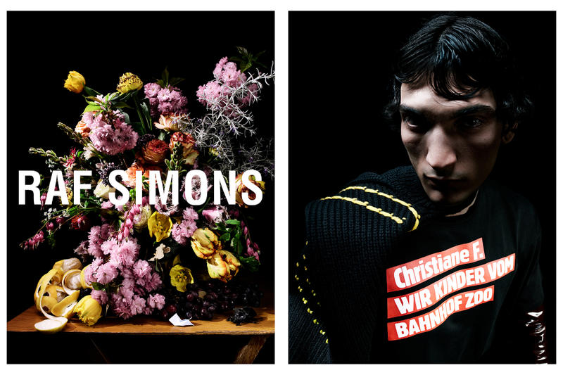 raf simons fall winter 2018 campaign advertisements imagery collection Photography Willy Vanderperre Styling Olivier Rizzo Flowers Mark Colle Model Luca Lemaire