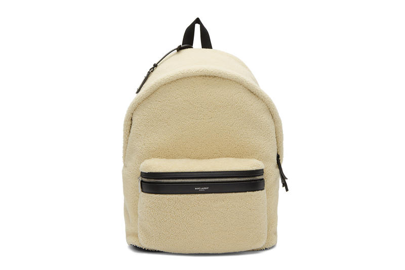 Saint Laurent Off-White Shearling City Backpack ssense release info available purchase accessories bags leather