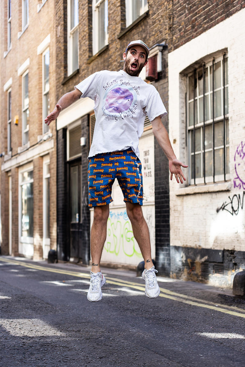 Sean Wotherspoon Nike Supreme London Street Style Streetsnaps Supreme x Thrasher Shorts Nike React Element 87 Air Max 1/97 Selfridges Farmers Market Guess