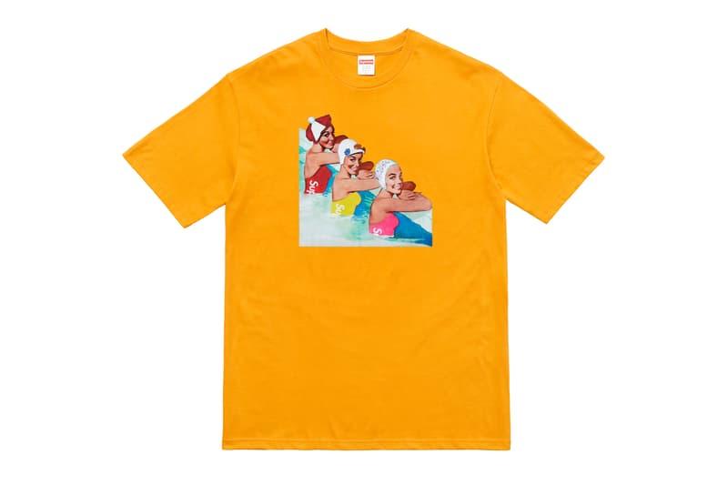 Supreme Summer 2018 T-Shirt Tee Orange Girls in a Pool Swimmers