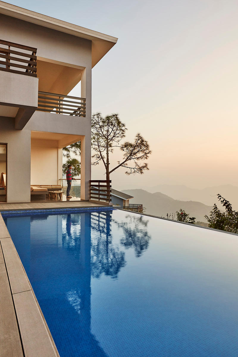 The Woodside Morphogenesis Architects India Modern Interior Exterior Swimming Pool Woodland Mountains Trees Skyline Kasauli