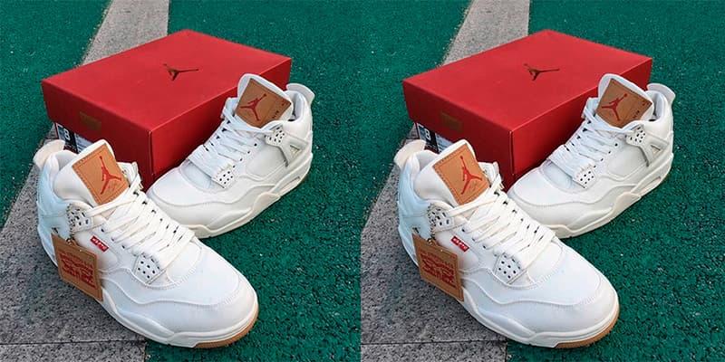 f338195f0dd2a8 Levi s Air Jordan 4 White Denim First Look Release Black