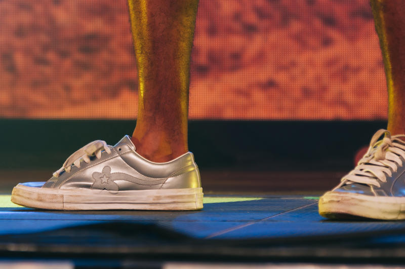tyler the creator golf le fleur converse collaboration silver metallic white sneaker colorway unreleased on feet