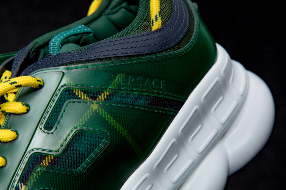Versace Chain Reaction Fall Winter 2018 Closer Look Salehe Bembury footwear sneakers luxury styling fashion Italian Fashion collection exclusive running sneaker drop info pattern high top low plaid leopard zebra fur print