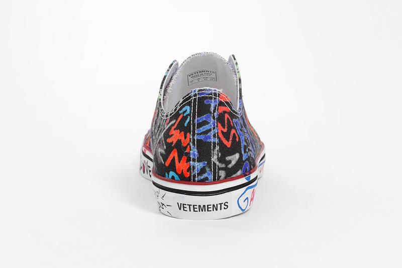 Vetements Fall Winter 2018 Graffiti Low-Top Sneakers black white demna gvasalia release info sneakers footwear