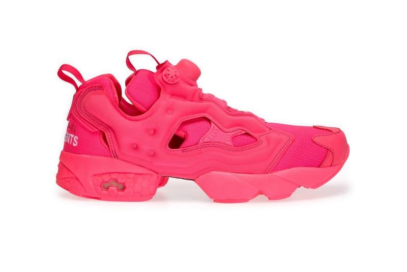 aaf2e493d762 Vetements reebok fluro instapump fury sneaker collaboration drop release  date info neon pink green colorway dover