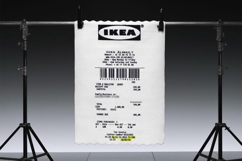 virgil abloh ikea markerad collection 2019 receipt rug