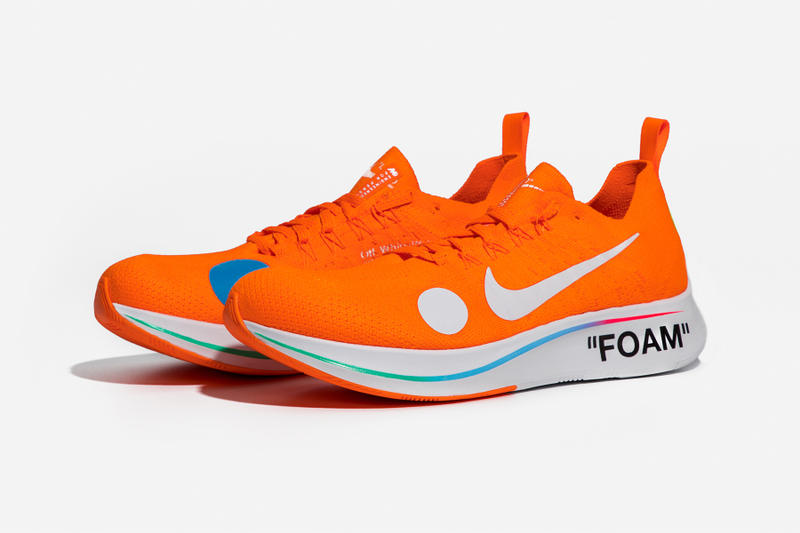 Virgil Abloh x Nike Zoom Fly Mercurial Flyknit Orange Lateral Angle