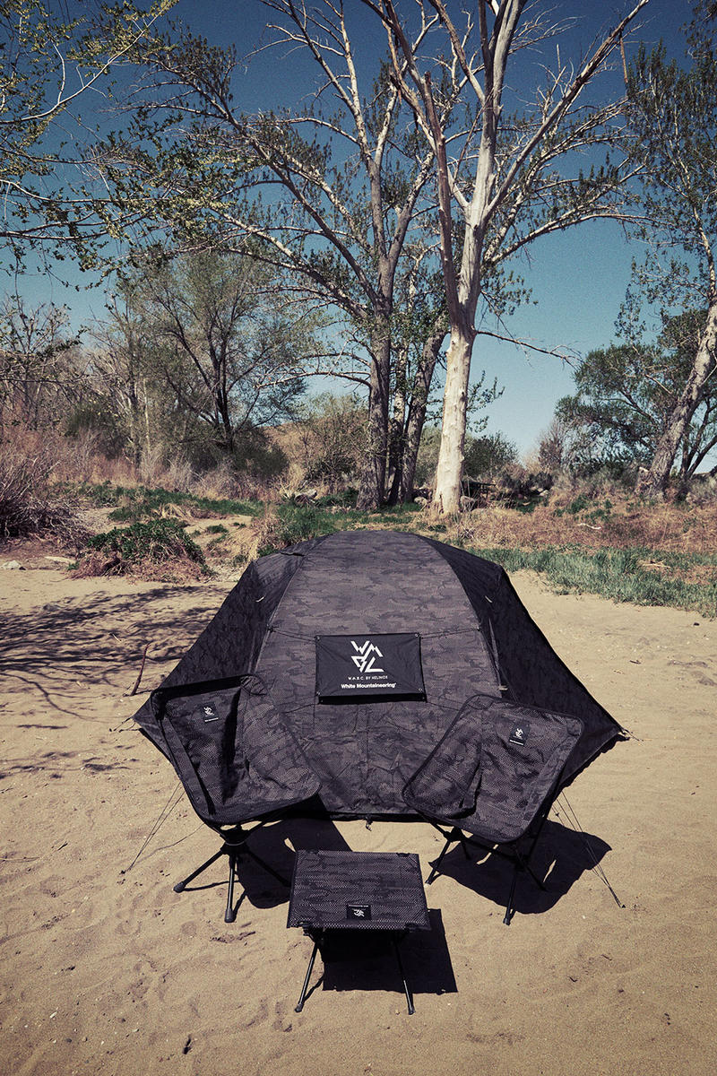 White Mountaineering wmbc helinox collaboration fall winter 2018 drop release info tent camping gear chair table tee shirt hat cap japan june 22