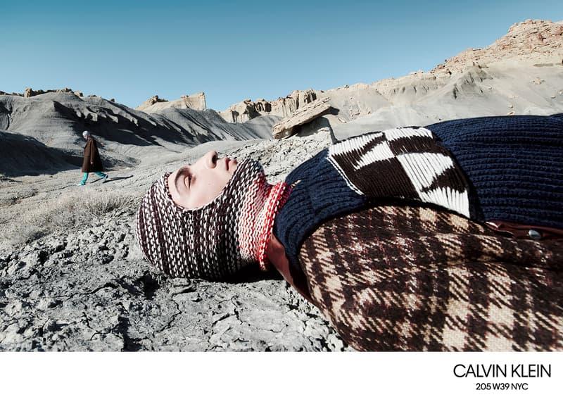 calvin klein 205W39NYC campaign imagery fall winter 2018 willy vanderperre raf simons knitwear sweaters skirts desert advertisement Lloyd & Co. Lulu Tenney Julia Nobis Freja Beha Liya Kebede Erin OʻConnor Fernando Albaladejo Luca Lemaire Olivier Rizzo